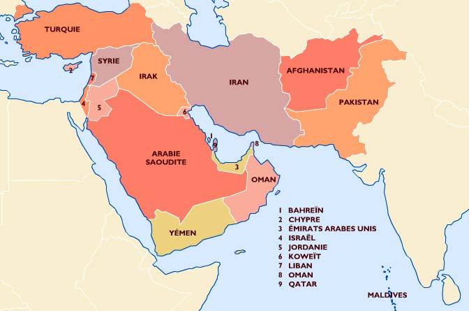 Carte Du Monde Orient.Cocardes Du Monde Entier Asie Moyen Orient